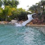 The waterslide in the heated pool