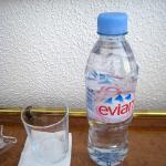 complementary Evian water