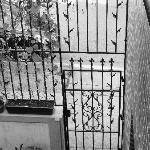 View down onto Rue Logan, beyond gate.