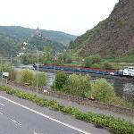 View from hotel balcony onto the Mosel