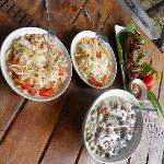 our self made green curry and papaya salad