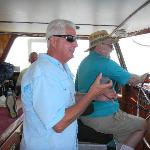 My father driving the boat