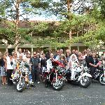 Bride & Groom and friends on Harleys
