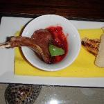 Lamb tapas in honey and strawberry sauce.