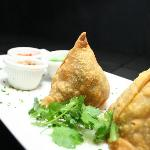 Madras Samosas with Chutneys