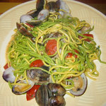 Homemade pasta with clams