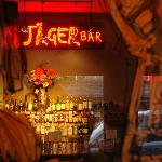Jager Bar has 8 seats at the counter and a fireplace