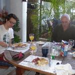 Enjoying breakfast on the deck