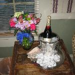 "Expensive ""Celebration"" flowers and champagne"