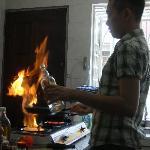 Christjen is cooking