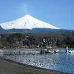 This is a view of the Villarrica volcano taken near La Poza Restaurant.