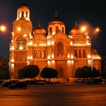 Varna cathedral by night