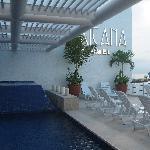 The lobby pool area