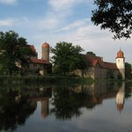 Reflection of castle in outer moat