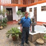 Eduardo in the courtyard of Hostal Amazonas
