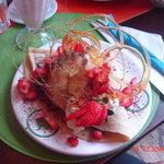 creppe de frutos rojos y helado