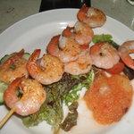 Spicy skewered prawns