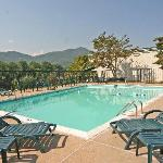 Our large inviting pool with beautiful mountain views