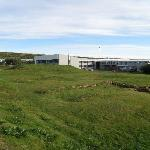 Hotel behind the excavated ruins of Snorri's farm