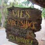A wooden sign lets you know your here!