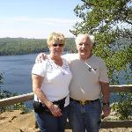 Jean and I atop Honeymoon Bluff at the east end of Hungry Jack Lake
