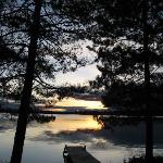 View from the first cabin at the resort, daybreak, loons calling.