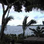 View out from our lanai, over hot tub and out to Hilo Bay