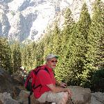 Gregg, resting on hike up Half Dome