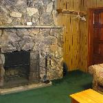 Stone or old-brick wood-burning fireplace