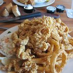 fried clams, onions, and potatoes-- oh my!