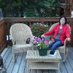 My wife relaxing in the backyard of the B&B