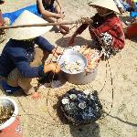 Ladies cooking my sea food