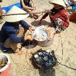 Ladies cooking my sea food