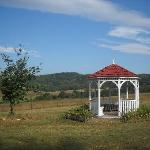 Gazebo overlooking beautiful neighboring farm