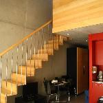 Stairs leading to loft above