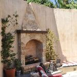 The fireplace in the courtyard...