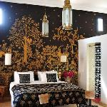 Metallic Mural in a guestroom