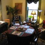 breakfast table in the parlor
