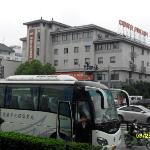 Street view, our waiting tour bus outside Gloria PH in Suzhou