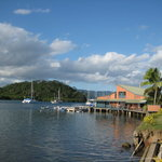The Captain's Cafe deck is visible here on the red roofed building on Savusavu Bay.