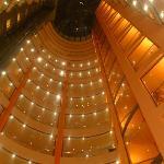 Hotel atrium at night