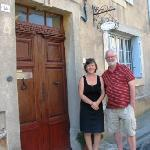 Martin and Síle at the door of Le Presbytére