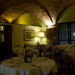 The vaulted restaurant room