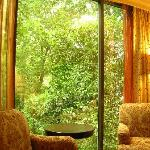 bedroom with view of trees