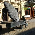 Artur Rubinstein playing at Piotrkowska Street