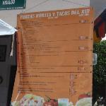 menu sign Tacos del Rin