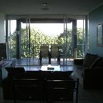 Lounge and balcony - huge TV with Foxtel but no free to air channels