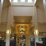 The lobby at the Holiday Inn Express, Mystic