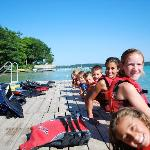 Kids on ski dock