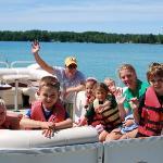 Kids on pontoon boat ride